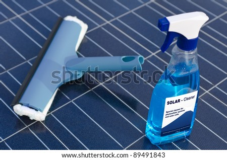 Solar cells and detergent  - english - stock photo