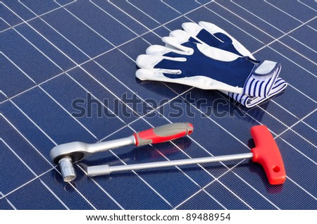 Solar cells and tools - stock photo