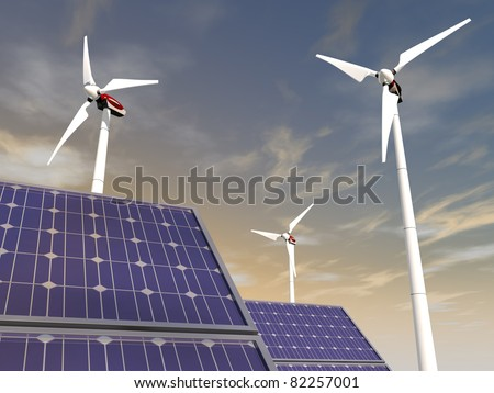 Solar cells and wind turbines, illustrating concepts such as green power, greentech, environmental protection, sustainable growth and technologies in general - stock photo