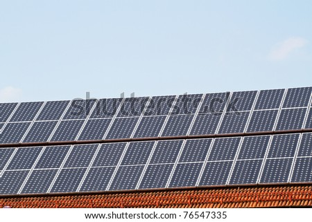 Solar Cells on a brick roof in Bavaria