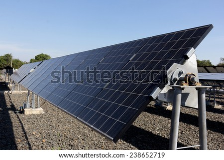 Solar cells, Power plant using renewable solar energy. - stock photo