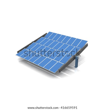 solar cells system 3d rendering white background