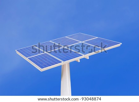 solar cells with blue sky