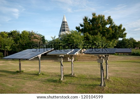 Solar collector tank container for water heating and water on Solar panels. - stock photo