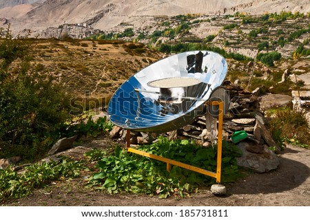 Solar cooker in the Himalaya mountains of Nepal - stock photo