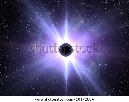 Solar Eclipse 1 august 2008  (2008/08/01) abstract illustration - stock photo