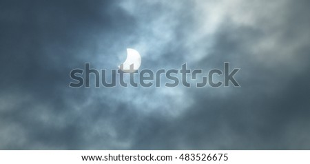 Solar eclipse in Annecy France and clouds on March 20, 2015