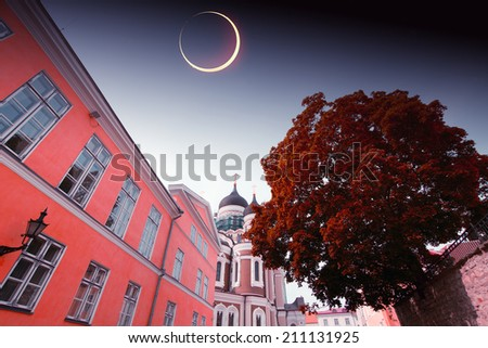 solar eclipse in Tallinn. Elements of this image furnished by NASA - stock photo