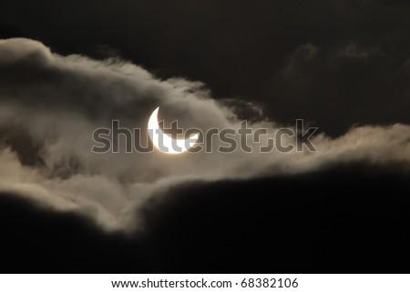 solar eclipse 4 january 2011,Jastrzebie Zdroj, Poland - stock photo