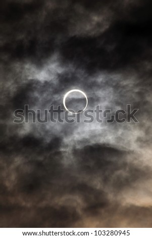 solar eclipse may 21st  2012, first of this kind to be seen in japan for 280 odd years. photos taken at seven twenty am - stock photo