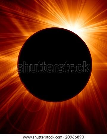 solar eclipse on a bright orange background - stock photo