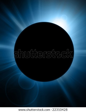 solar eclipse on a dark blue background