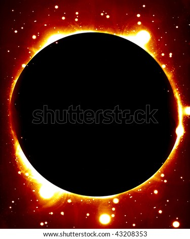 solar eclipse on a dark red background - stock photo