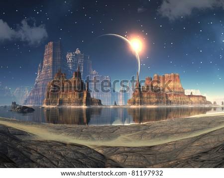 Solar Eclipse over Alien Lake Landscape - stock photo
