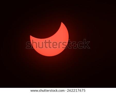 Solar eclipse phenomenon, real photo, Ukraine, 20 March 2015 - stock photo
