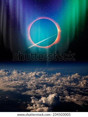 """Solar Eclipse with aurora """"Elements of this image furnished by NASA """"  - stock photo"""