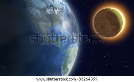 Solar eclipse with foggy earth, moon and sun over starry sky. - stock photo