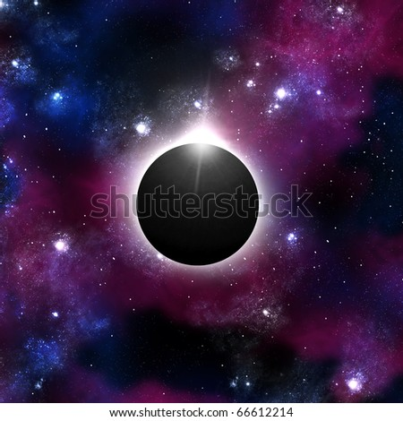 Solar Eclipse with Orion background