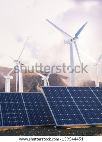 Solar Eco power and wind generators. Renewable clean energy concept. - stock photo