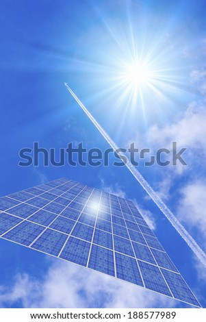 Solar electric generation with blue sky