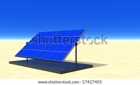 Solar electric panel in desert sun - stock photo