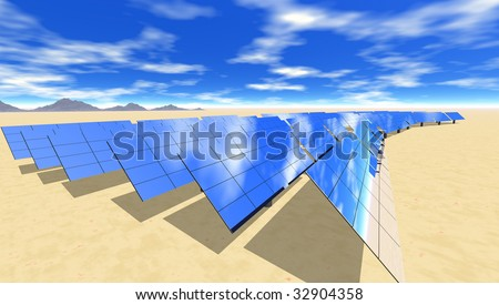 Solar electric panels in desert sun - stock photo