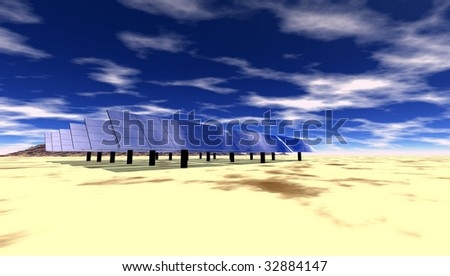Solar electric panels in the desert - stock photo