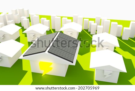 Solar Enengy Concept, House Used - stock photo