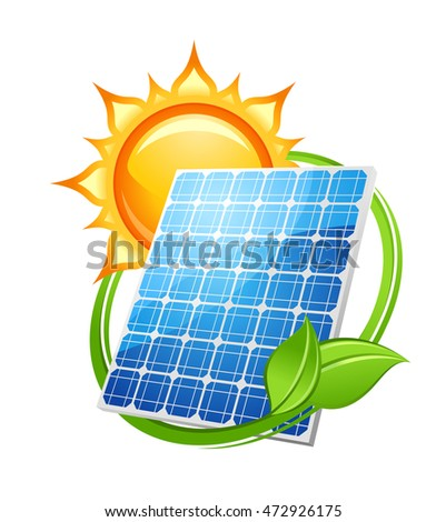 Solar energy and power concept to save the environment with a photovoltaic solar panel under a hot sun encircled with green leaves