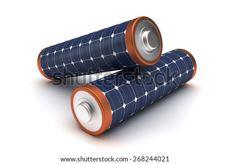 Solar Energy Batteries - stock photo