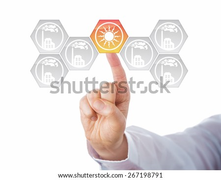 Solar energy button activated in a virtual interface full of smoking factory icons. Metaphor for energy transition, also called Energiewende or energy turn. Cutout isolated on white background. - stock photo