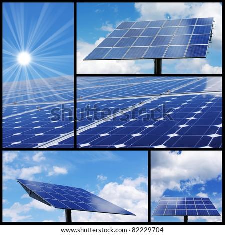 Solar energy collage: Alternative & green energy! - stock photo
