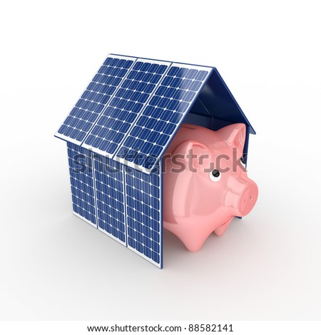 Solar energy concept.Isolated on white background.3d rendered. - stock photo