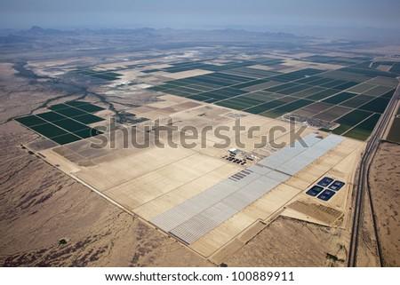 Solar energy construction in the Arizona desert - stock photo