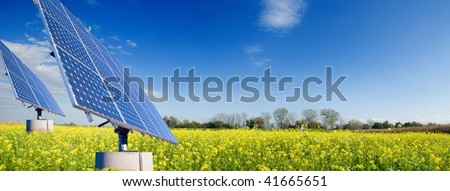 Solar energy for clean environment - stock photo