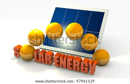 Solar energy image with photovoltaic panel - stock photo
