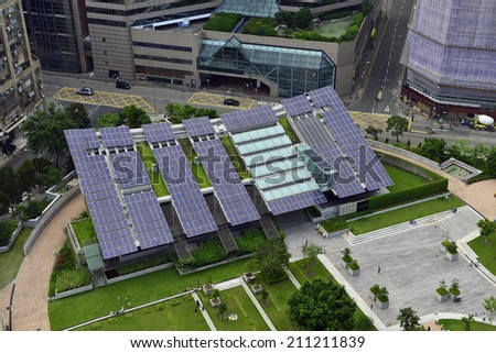 Solar energy in the city Hong Kong - stock photo