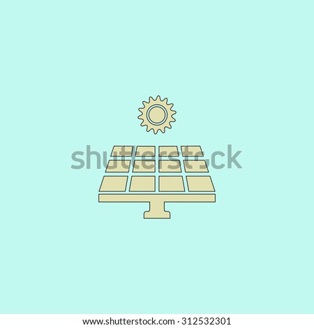 Solar energy panel. Flat simple line icon. Retro color modern illustration pictogram. Collection concept symbol for infographic project and logo - stock photo