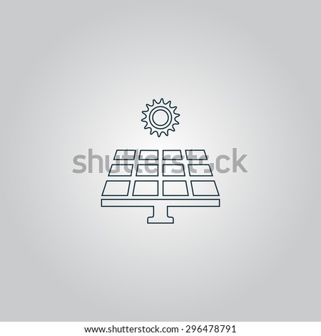 Solar energy panel. Flat web icon or sign isolated on grey background. Collection modern trend concept design style  illustration symbol - stock photo