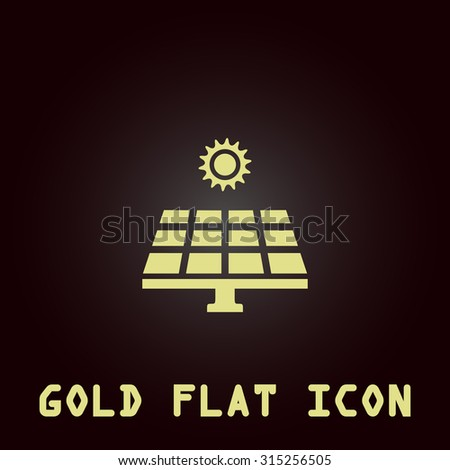 Solar energy panel. Gold flat icon. Symbol for web and mobile applications for use as logo, pictogram, infographic element - stock photo