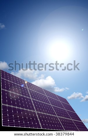 Solar energy panel in sunlight - stock photo