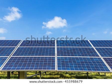 solar energy panel on blue sky background - stock photo