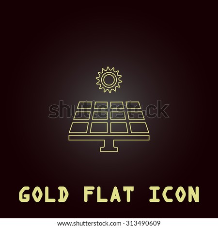 Solar energy panel. Outline gold flat pictogram on dark background with simple text. Illustration trend icon - stock photo