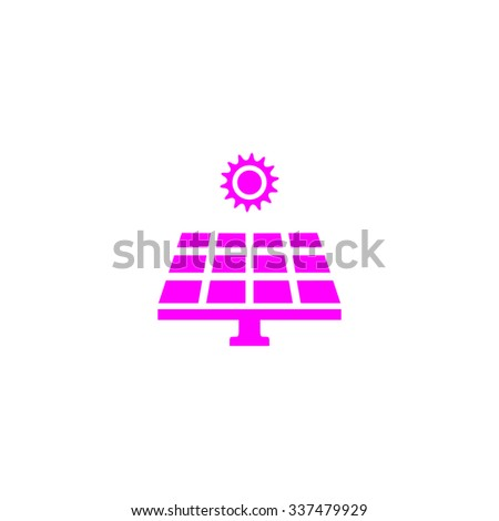 Solar energy panel. Pink icon on white background. Flat pictograph - stock photo