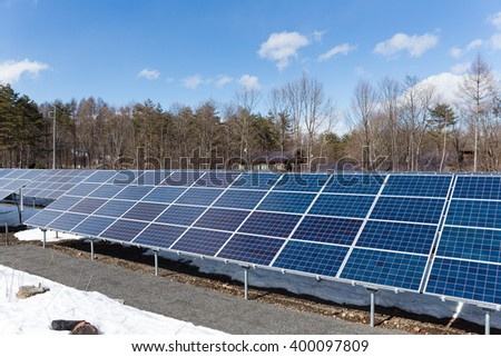 Solar energy panel plant with blue sky