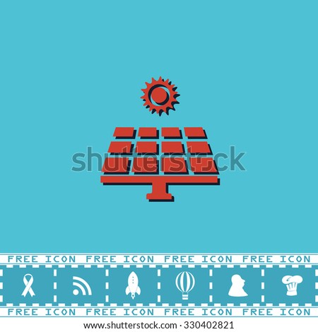 Solar energy panel. Red flat symbol with dark shadow and bonus icon. Simple illustration pictogram on blue background - stock photo