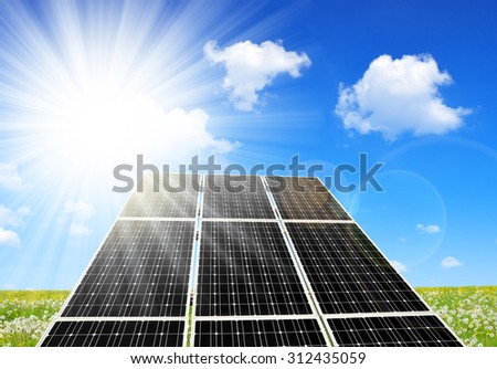 Solar energy panels against sunny sky. Alternative energy. - stock photo