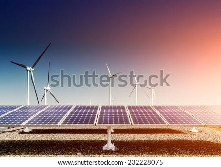 solar energy panels and wind turbine ,clean energy background