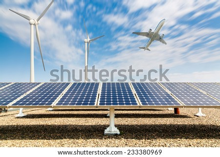 solar energy panels and wind turbine ,clean energy background  - stock photo