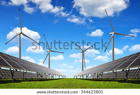 Solar energy panels and wind turbines. Clean energy.